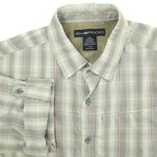 ExOfficio Vented Blue Green Orange Plaid Fishing Hiking Shirt Mens Large