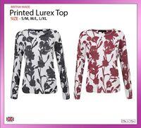 New Women Floral Print Long Sleeve Jumper Lurex Top Knitwear Sweater Sizes 10-20