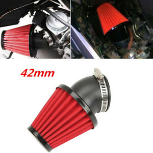 1pcs Red Motorcycle Racer 42mm Inlet Cold Air Intake Tapered Air Filter Cleaner