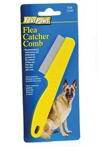 Four Paws Pet Flea Comb Single Row Coat Dog Cat Rabbit Ferret Remove Ylw Color