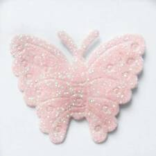 12 Pink Glitter Self Adhesive Butterfly Embellishments Card Making Wedding Craft