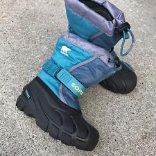 EUC Sorel Girl Boots Purple Teal Snow Winter 12