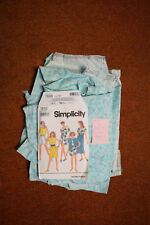 VINTAGE 1990s RETRO Clothes Aqua Blue Flowered Shorts and Top Size 12 Pattern