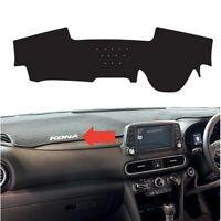Black Dash Mat Cover w/ white Sticker 2p for 2017~ 2020 Hyundai Kona without HUD
