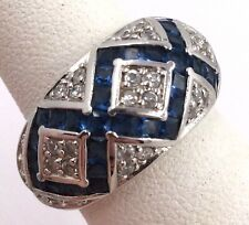 Dome Babd Ring Size 5.75 7gr Sterling Silver Blue & Clear Cubic Zirconia