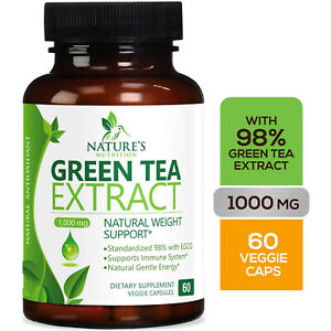 Green Tea Fat Burner 1000mg EGCG Extract Natural Weight Loss Supplement Capsules