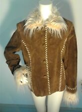 NWOT Beautiful  JOHN WEITZ Brown Leather Faux Fur Bold Stitch Coat Size XL
