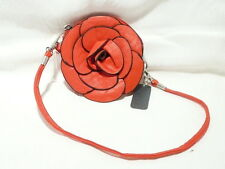 "PURSE 11CM ROUND ""IMMITATION LEATHER RED ROSE"" SHORT STRAP ""NEW"" AUZ SELLER"