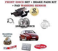 Para Mercedes B180 B200 Cdi + Turbo 2005 - > Front Discos De Freno Set + almohadillas + Sensor