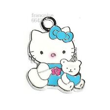 HK24// BRELOQUE CHARM PERLE / HELLO KITTY OURSON BLEU / CREATION BIJOUX BRACELET