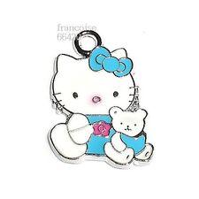 1 BRELOQUE CHARM PERLE / HELLO KITTY OURSON BLEU / CREATION BIJOUX BRACELET HK24