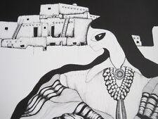 Amado Pena Native American Yaqui BW Rare Matted Print MUJER Y PUEBLO 16 x 20