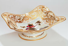 A Large Derby Hand Painted Birds Porcelain Basket by Dodson, Antique c.1820