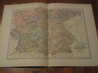 Nice Antique Map of South & West German c 1895 Johnston