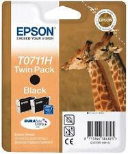 Genuine EPSON T0711H Giraffe Twin Pack DuraBrite Ultra Black Ink Cartridge T0711