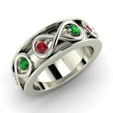 0.80 Carat Round Real Ruby Green Emerald Wedding Platinum Rings Size L M N O P Q