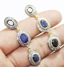 925 Sterling Silver Rose Cut Victorian Diamond Blue Sapphire Dangle Earrings