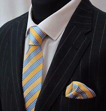 Tie Cravatta Con Fazzoletto Blu & Giallo