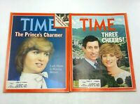 Time Magazine Lot Of 2 Princess Lady Diana Prince Charles Royal Wedding Family