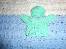 Small Doll Sweater and Hat Set-Pastel Green