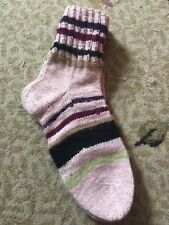 New Hand Knitted Wool Blend Stripe Socks Size 7-8