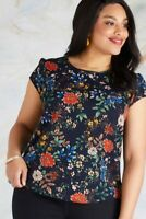 Navy Plus Size Oriental Print Top With Lace Back Detail