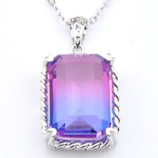 Woman Purple Pink BI-COLORED Tourmaline Gems Silver Necklace Pendant With Chain