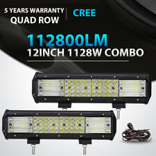 """2X Quad-Row 12"""" inch 1128W LED Light Bar Combo Offroad Driving 4WD Truck ATV 14"""