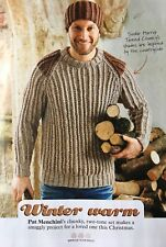 KNITTING PATTERN Mens Ribbed Jumper and Matching Beanie Hat Sweater Sirdar MAKE