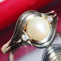 14k yellow gold ring 6.5mm pearl 0.06ct diamond size 6.75 vintage handmade 2.5gr