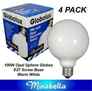 4 x 100W Incandescent Large 100mm Sphere Light Globes Bulbs E27 Screw Dimmable