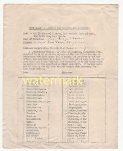 Buckinghamshire Home Guard, High Wycombe, Issued kit inventory