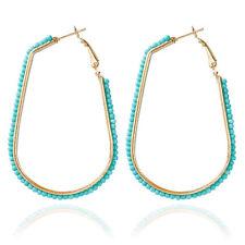 Small Round Ball Rhinestone Gold Plated Lady Girl Teardrop Hoop Earrings Jewelry