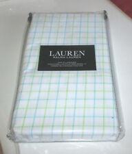 RALPH LAUREN King Pillowcases CHECK BLUE GREEN WHITE