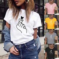 Women's Short Sleeve T-Shirt Love Heart Print Casual O-Neck Tops Blouse HELLO