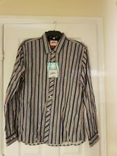 Joe Browns Party Striped Long Sleeved Sky Blue Shirt Size Medium 39/41