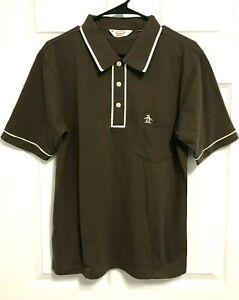 PENGUIN Logo Munsingwear Men Brown Pocket Short Sleeve Casual Golf Polo Shirt L