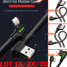 Lightning LED Elbow Charging Cable Fast Charging cable F Samsung iPhone Android