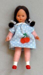 "Vintage Dollhouse Miniature Little Girl Poseable Wire 2 7/8"" P934"