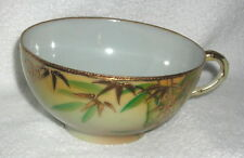 Antique - Vtg Nippon Hand Crafted Bamboo w/Raised Gold Leaf Design Coffee Cup