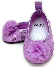 "Lavender Sequin Flat Shoes w/Flower made to fit 18"" American Girl Doll Clothes"