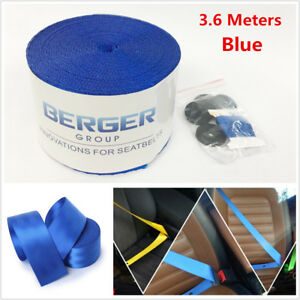 3.6M Blue 3Point Car Seat Belt Harness Safety Retractable Webbing Fabric Harness