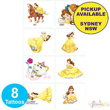 PRINCESS BELLE BEAUTY AND THE BEAST PARTY SUPPLIES 8 TATTOOS BIRTHDAY FAVOURS
