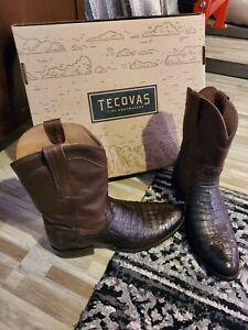 "Tecovas Men's ""The Cole"" Dark Brown Caiman Boots 11.5 US WORN ONCE"