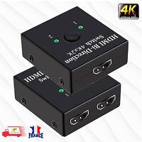HDMI Switch 2 ports FULL HD 4K Répéteur Bidirectionnel Hub 3D 1080p 1 en 2