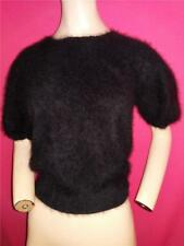"""EXTRA FLUFFY BLACK 70% ANGORA SCOOP NECK SWEATER BY LORD & TAYLOR- 36"""" BUST"""