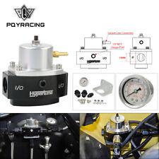 Black universal adjustable fuel pressure regulator kit 4-65 psi 1/8 NPT gauge
