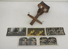 Antique Wooden Hand-Held Stereoscope Image View w/5 Slides Including Pin-Up Girl