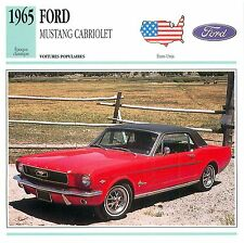Ford Mustang V8 Cabriolet 1965 USA CAR VOITURE CARTE CARD FICHE