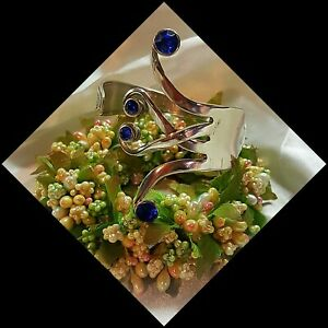 Silver Fork Bangle Bracelet Handmade vtg valentine rhinestone heart spoon cuff